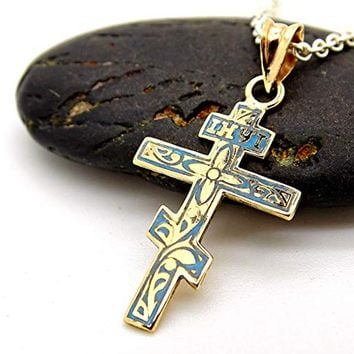 dainty gold cross necklace womens cross pendant orthodox cross necklace gold, enameled cross pendant, unique gift for women Christening gift