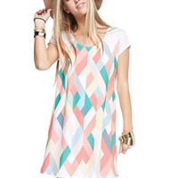 Short Sleeve Geometric Dress  - Coral