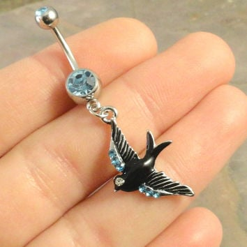 Tattoo Swallow Bird Belly Button Ring Jewelry