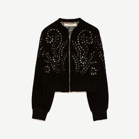 EMBROIDERED VELVET BOMBER JACKET DETAILS