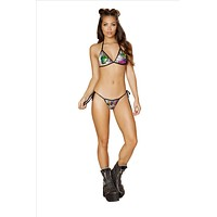 Rainbow Sequin Fixed Triangle Top and Side Tie Cheeky Thong Bottom Bikini Set (Other Colors Available)