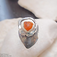 "Boulder Fire Opal Ring - Large Statement  -  Orange Sterling Silver - Abstract "" A Huge Heart "" OOAK - Ready to Ship"