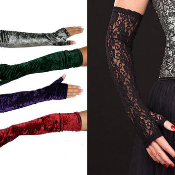 Black Lace & Velvet Gloves, wide choice of colours