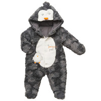 "Koala Baby Neutral Gray/White ""Penguin Pals"" Hooded Snap Front Pram"