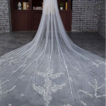 [23.99] In Stock Glamorous Tulle Cathedral Wedding Veil With Lace Appliques - dressilyme.com