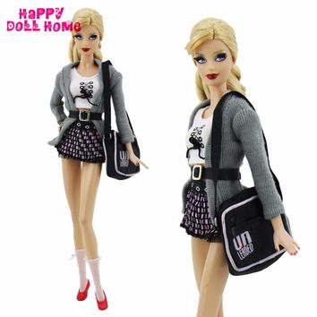 7 in 1 Handmade Outfit Fashion Costume Tops Coat Skirt Socks Belt Shoes Bag Accessories For Barbie Doll Clothes Kid Toy Gift