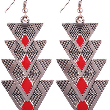 Champagne Gold Triangle Red Angle Drop Earring EDE0000207