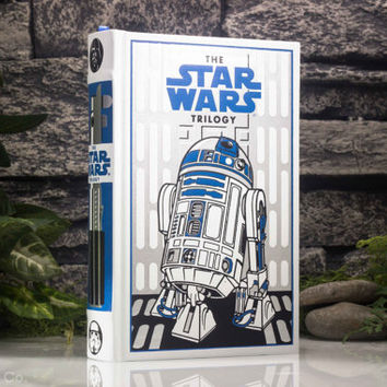 Hollow Book Safe - The Star Wars Trilogy - Special White R2D2 Edition (LEATHER BOUND) - George Lucas