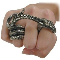 Adder Bite Alchemy Gothic Snake Ring - size 10