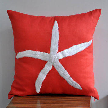 White Starfish Throw Pillow Cover 18 x 18 Deep by Kainkain