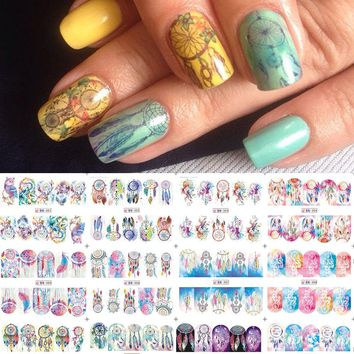 1 sheet Dream catcher Nail Stickers Feather Nail Art Water Transfer Decals Polish Manicure Full Cover Wraps Decor LABN301-312