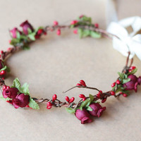 little romantics rose hair wreath // wine red valentines - vintage, woodland, wedding, dainty rose headpiece, headband, hair crown,