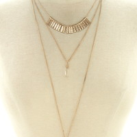 Faux Crystal Layered Necklace