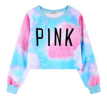 """ Pink "" Printed Women's Trending Popular Fashion Victorias Secret Like 2016 Crop Top Bare Midriff Blouse Sweatshirt Shirt Top _ 9302"