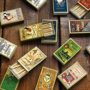 One Hundred and Fifty (150) Wholesale Golden Book Covered Matchboxes - Paper Art - Light a Literary Spark