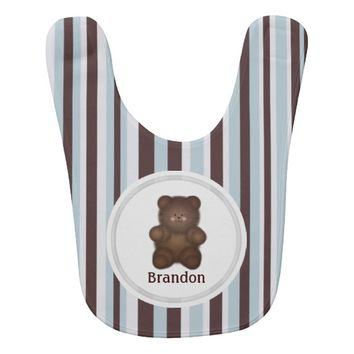 Personalized Brown Bear And Stripes Baby Bib