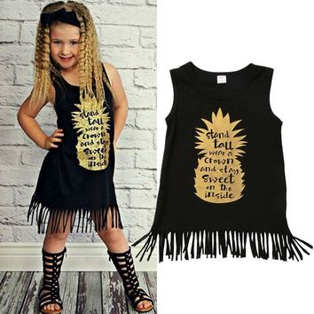 Black Fringed Sleeveless Toddler Boho Dress