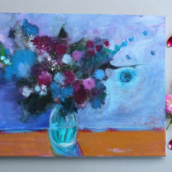 "Abstract Floral Still Life Painting Acrylic Canvas ""Bouquet in a Blue Room"""