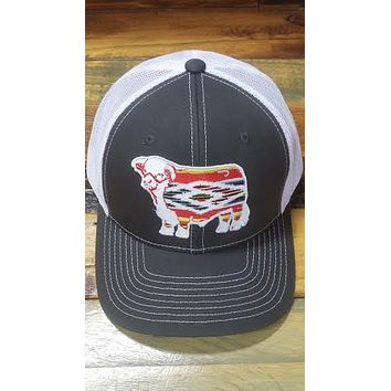 """Lazy J Grey and White Serape Hereford Patch Cap (3.5"""")"""