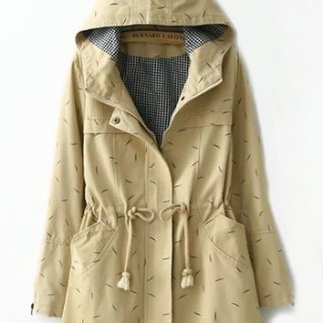 Khaki Hooded Leaves Print Drawstring Long Sleeve Coat