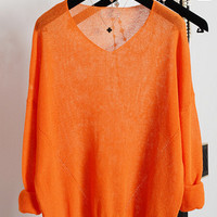 Orange Batwing Long Sleeve Paneled Knit Blouse