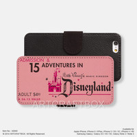 Disneyland ticket iPhone Samsung Galaxy leather wallet case cover 040
