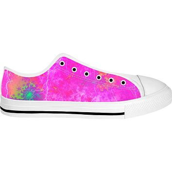Blue And Pink Prophecy White Low Tops