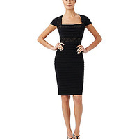 Adrianna Papell Petite Lace-Trimmed Sheath Dress - Black