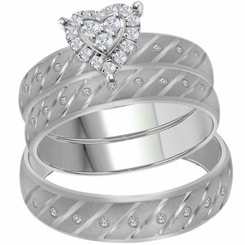 14kt White Gold His & Hers Round Diamond Heart Stripe Matching Bridal Wedding Ring Band Set 1/4 Cttw - FREE Shipping (US/CAN)