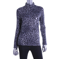 Jones New York Womens Petites Animal Print Jersey Turtleneck Shirt