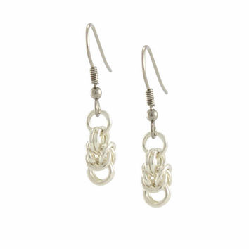 Sterling Silver Byzantine Earrings, Silver Earrings, Dangle Earrings, Chainmaille Earrings, Gift for HER, Gift for Women, Handcrafted