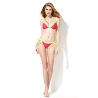 2016 Trending Fashion Lace Green Mixed Color Red Sexy Bikini Swim Suit Beach Bathing Suits _ 1519