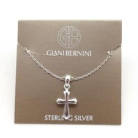 "GIANI BERNINI Beautiful Sterling Silver Cross Pendant Necklace 17"" NWT"