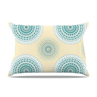 "Julia Grifol ""Soft Mandalas"" Green Yellow Pillow Case"