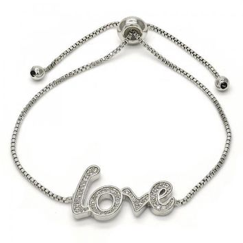 Rhodium Layered 03.155.0033.09 Fancy Bracelet, Love Design, with White Micro Pave, Polished Finish, Rhodium Tone