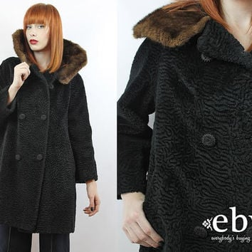 Vintage 60s Black Faux Persian Lamb Fur Coat S M L XL Faux Curly Lamb Fur Coat Black Fur Coat Double Breasted Coat Black Coat