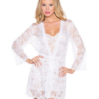 Sheer Lace Robe & Chemise White Sm