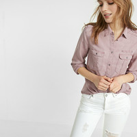 soft twill military boyfriend shirt