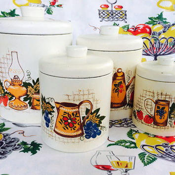 1960s Ransburg Metalware Canisters Country Lane Model 236 Canister Set Tin Kitchenware