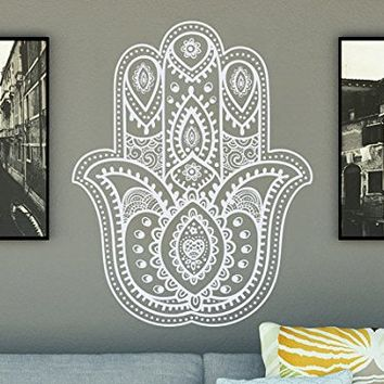 Hamsa Hand Wall Decal Yoga Fatima Vinyl Sticker Decals Namaste Indian Ornament Yoga Studio Meditation Home Decor Bohemian Bedroom Dorm NV79