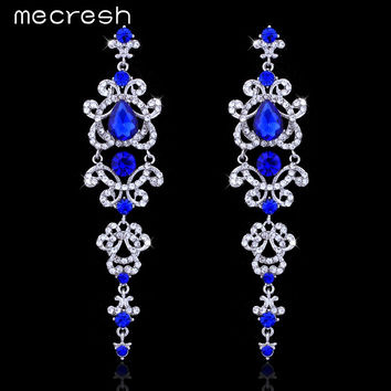 Mecresh Blue/Silver Color Chandelier Crystal Long Drop Earrings for Women Bridal Jewelry Wedding Accessories EH421