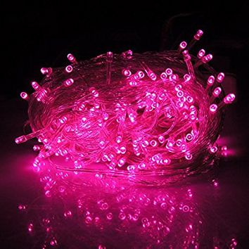 HDE Linkable LED String Lights Holiday Home Fairy Multifunction Wedding College Dorm Room Craft Decoration Expandable Rope Lights (100 Micro LEDS - Pink)