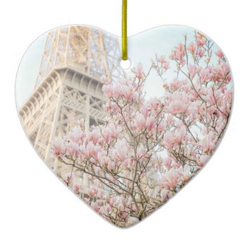 Heart Shaped Ornament,  Paris, Eiffel Tower, France, Christmas, Holiday, Holidays, Ceramic, Christmas Tree Ornament