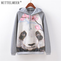 Harajuku printed hoodie o-neck Kawaii Cartoon Watercolor cat printing Hoodies tops for women