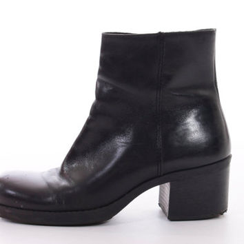 90s Black Leather Ankle Boots Platform Nine West Vintage Ankle Booties Minimalist Goth Womens Size US 8 UK 6 EUR 38-39