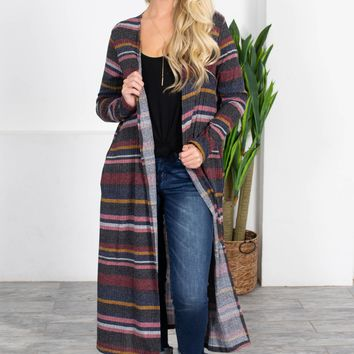 Auburn Grey Striped Maxi Cardigan