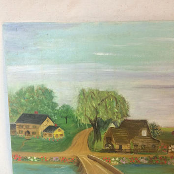 Vintage Primitive Oil Painting Landscape 1970s home Rural scene Outsider Wall Art Original Unframed signed garden lake bridge Board Folk Art