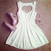 SEXY HOLLOW OUT PEACH HEART HALTER STRAP DRESS from Girl boutique