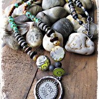 GYPSY SOUL Necklace~Artisan Beaded Statement PICASSO~Live~Light~Love~ Hippie Boho Necklace~Mdogstudios~