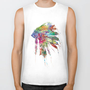 Headdress Biker Tank by monnprint
